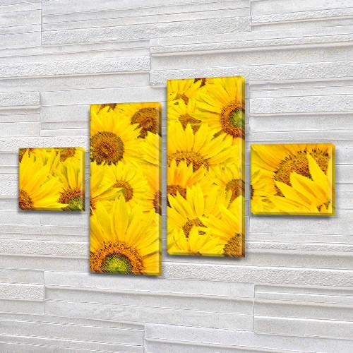 Желтые Подсолнухи, модульная картина (Цветы) на ПВХ ткани, 70x110 см, (25x25-2/65х25-2)