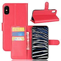 Чехол-книжка Litchie Wallet для Apple iPhone XS Max Красный