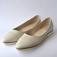 Балетки бежевые кожаные женская обувь Gracia Beige by Rosso Avangard