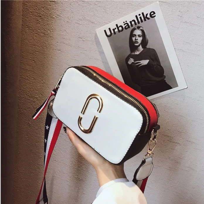 Сумка женская Camera Bag с текстильным ремешком в стиле Marc Jacobs (белая)