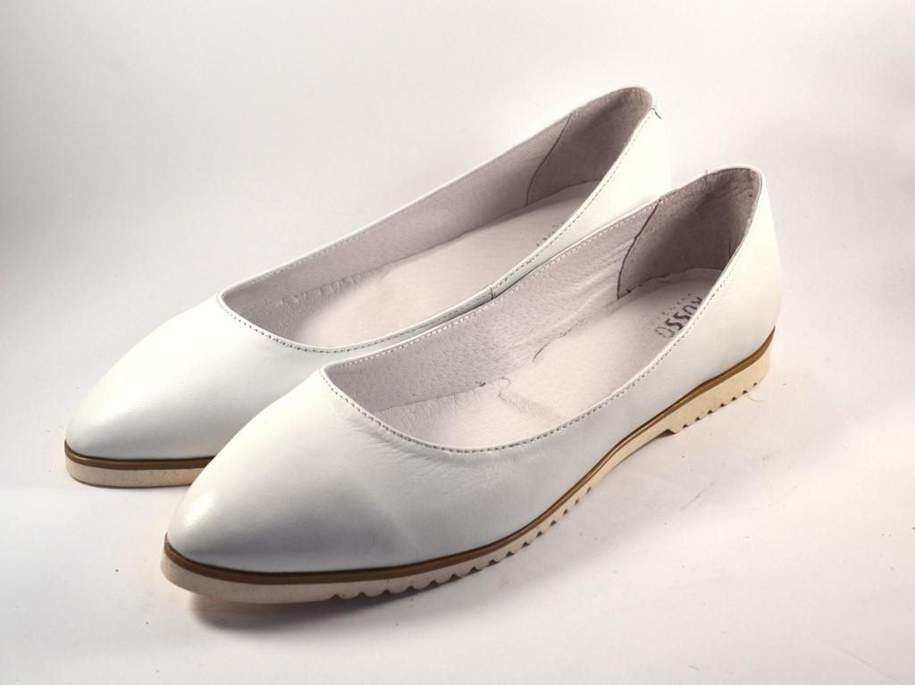 """Белые балетки кожаные женская обувь Gracia Alba by Rosso Avangard цвет """"Старс"""""""