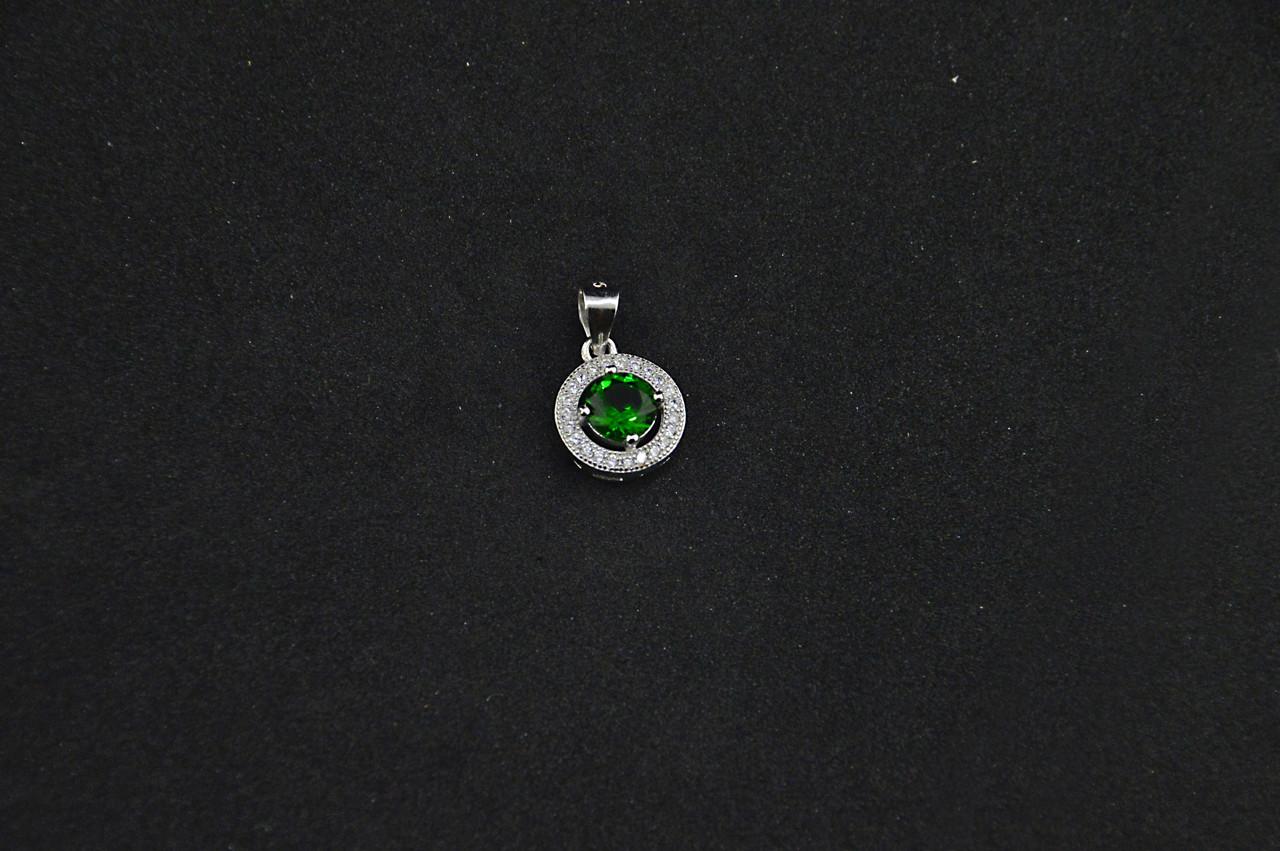 Серебряный кулон с ярко зеленым камнем серебро 925 проба