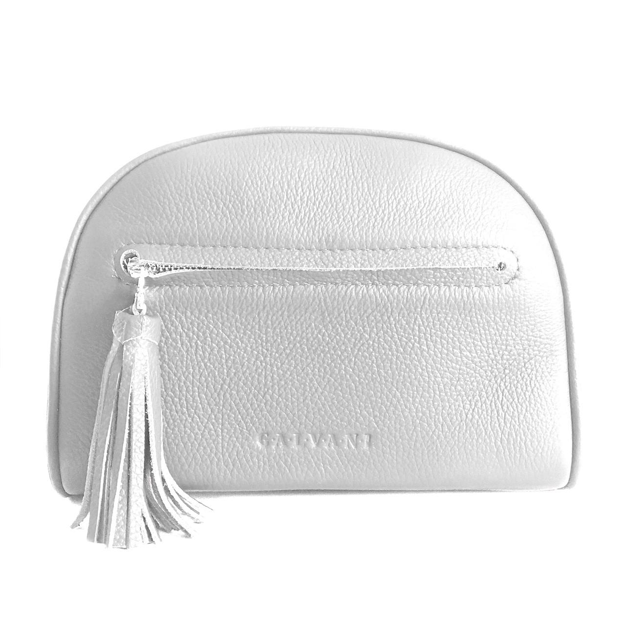 Женская кожаная сумка серебро