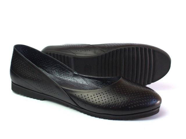 Балетки женские черные кожаные Scara U Black Perf Leather by Rosso Avangard летние