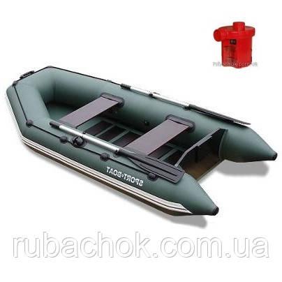 Лодка надувная Sport-Boat N 290LS + Насос электрический Турбинка 12V АС 401