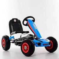 Детская педальная машина веломобиль  КАРТ M 4039-4 синий