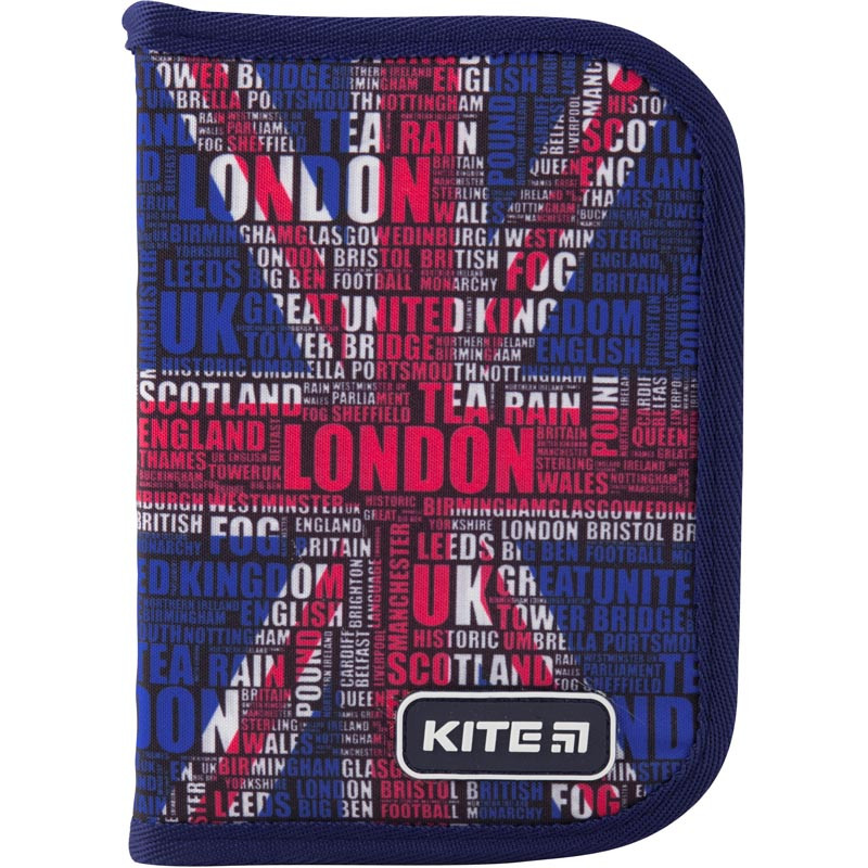 Пенал без наполнения Kite Education London 1 отделение 1 отворот Синий (K19-621-7)