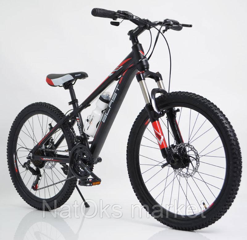 Велосипед BLAST S300 24″ (Чёрно-Красный) + бутылка для воды и спидометр