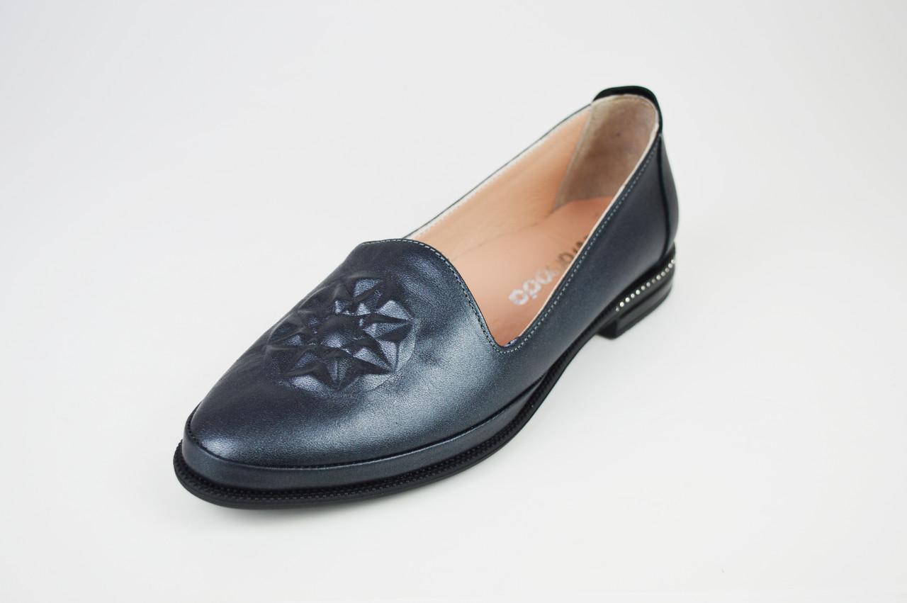 Туфли на плоской подошве серые Evromoda 176