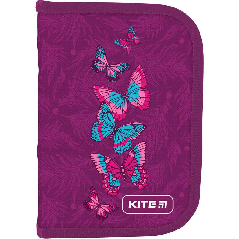 Пенал без наповнення Kite Education Butterflies 1 відділення 2 одвороту Фіолетовий (К19-622-7)