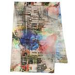Палантин шерстяной 10168-1, павлопосадский шарф-палантин шерстяной (разреженная шерсть) с осыпкой, фото 5