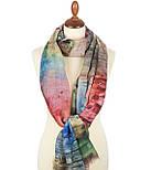 Палантин шерстяной 10168-1, павлопосадский шарф-палантин шерстяной (разреженная шерсть) с осыпкой, фото 7