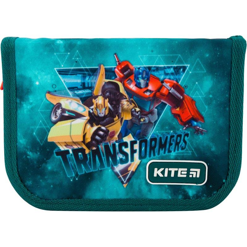 Пенал без наполнения Kite Education Transformers 1 отделение 2 отворота Зеленый (TF19-622-1)