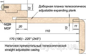 Додаткова дошка телескопічна ПВХ 70мм Горіх, фото 2