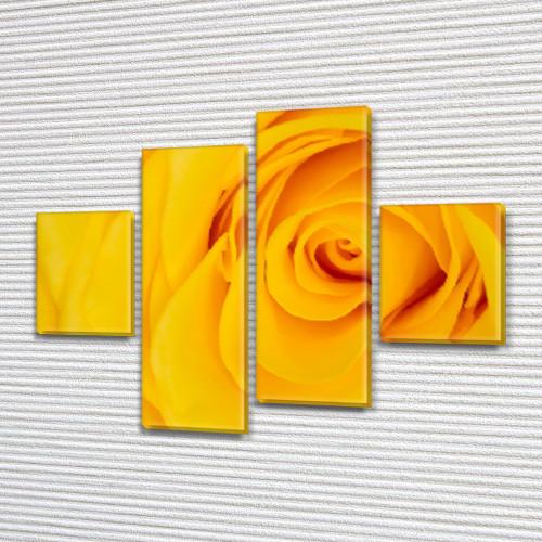 Бутон Желтой Розы, модульная картина (Цветы) на ПВХ ткани, 85x110 см, (35x25-2/75х25-2)