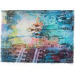 Палантин шерстяной 10168-13, павлопосадский шарф-палантин шерстяной (разреженная шерсть) с осыпкой, фото 4