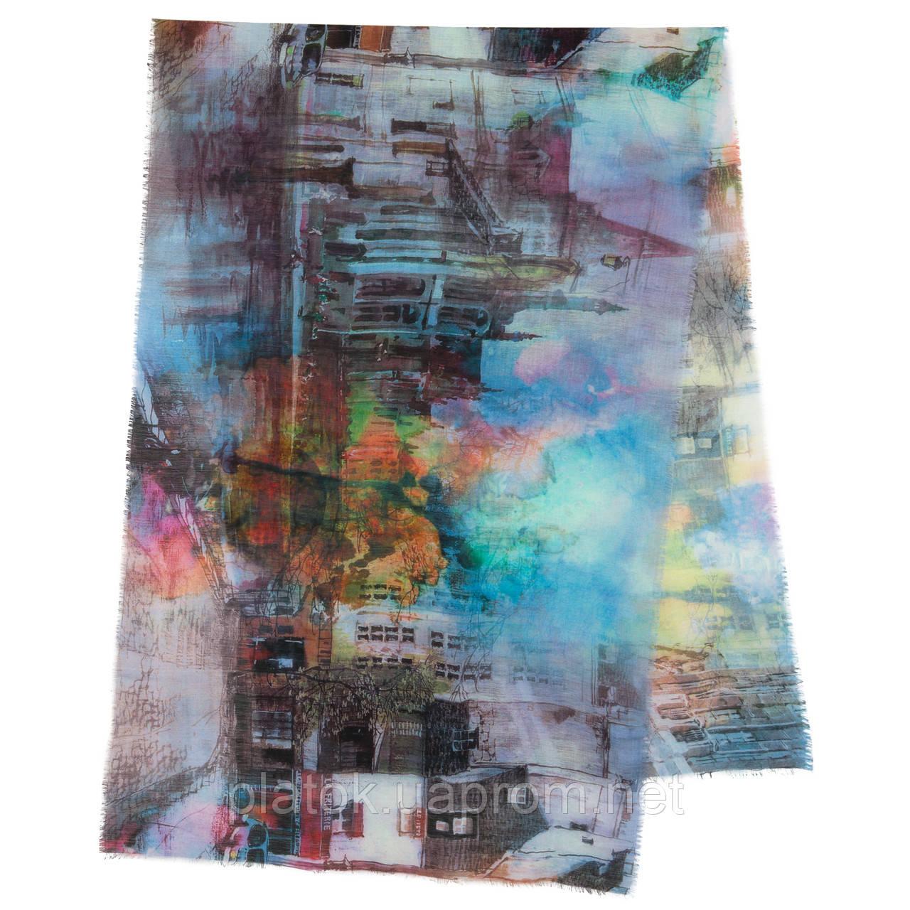 Палантин шерстяной 10168-13, павлопосадский шарф-палантин шерстяной (разреженная шерсть) с осыпкой