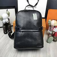 Стильный кожаный женский рюкзак Bottega Veneta черный городской рюкзачок в стиле Боттега Венета люкс реплика