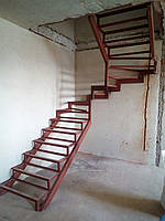 П-Образный каркас лестницы с разворотом 180 гр и забежными ступенями, фото 1
