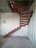 П-Образный каркас лестницы с разворотом 180 гр и забежными ступенями, фото 3