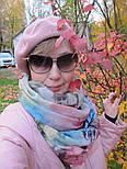 Палантин шерстяной 10168-13, павлопосадский шарф-палантин шерстяной (разреженная шерсть) с осыпкой, фото 5