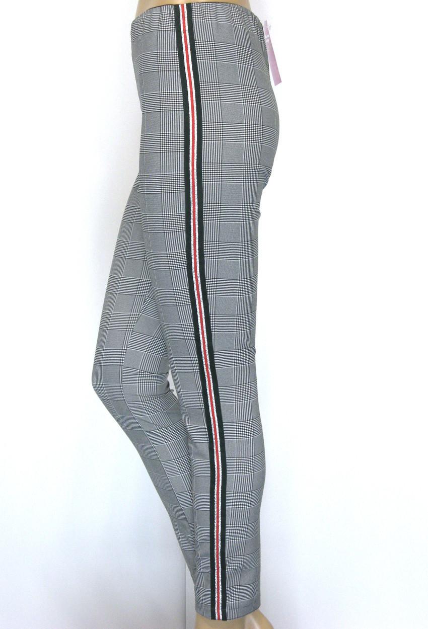 Жіночі штани в клітику на резинці з лампасами