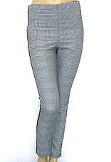 Жіночі штани в клітику на резинці з лампасами, фото 2