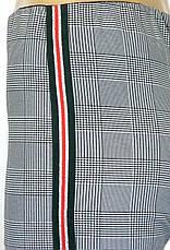 Жіночі штани в клітику на резинці з лампасами, фото 3
