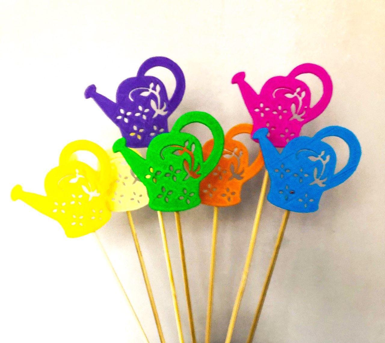 Лейки декор на палочке. 7 цветов. Декор на палочке из пластика. Пасхальный декор