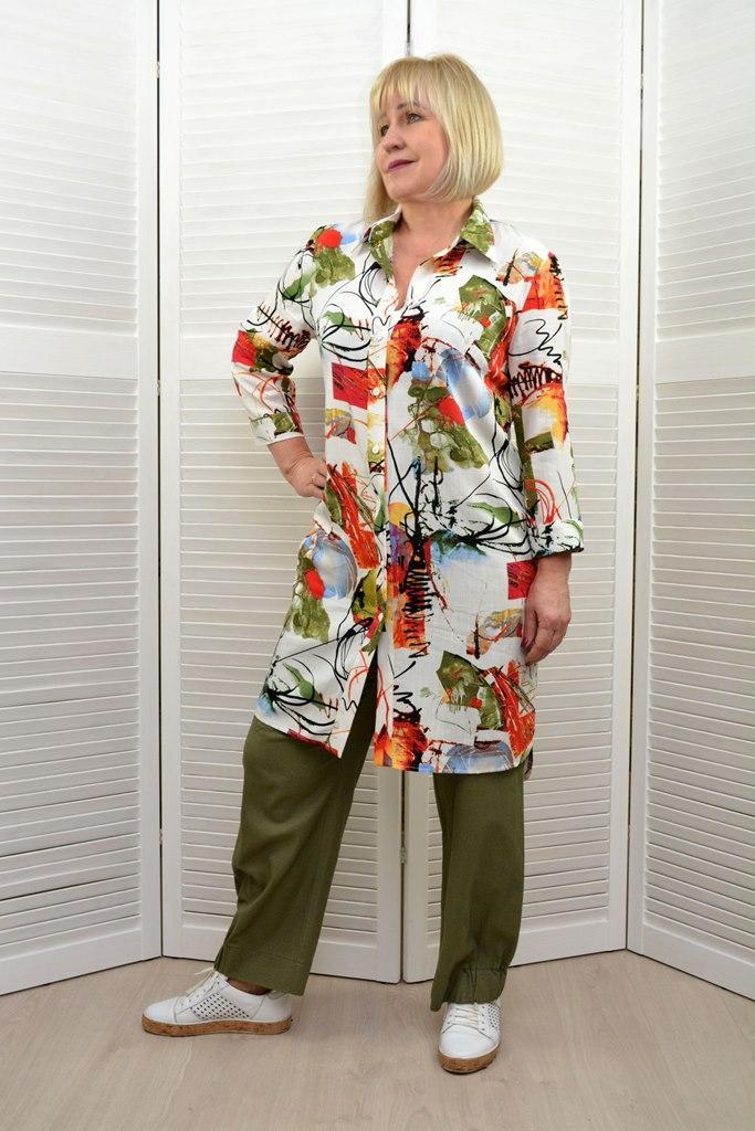 Рубашка лен принт   - Модель 1645-7