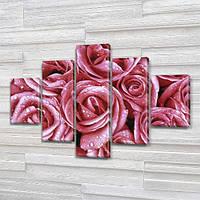 Букет розовых Роз, модульная картина (Цветы) на Холсте, 95x135 см, (40x25-2/70х25-2/95x25), фото 1