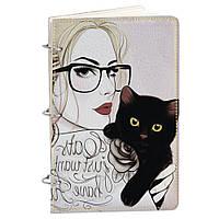 Блокнот Элегант А5 25 Девушка с котиком (эко-кожа)