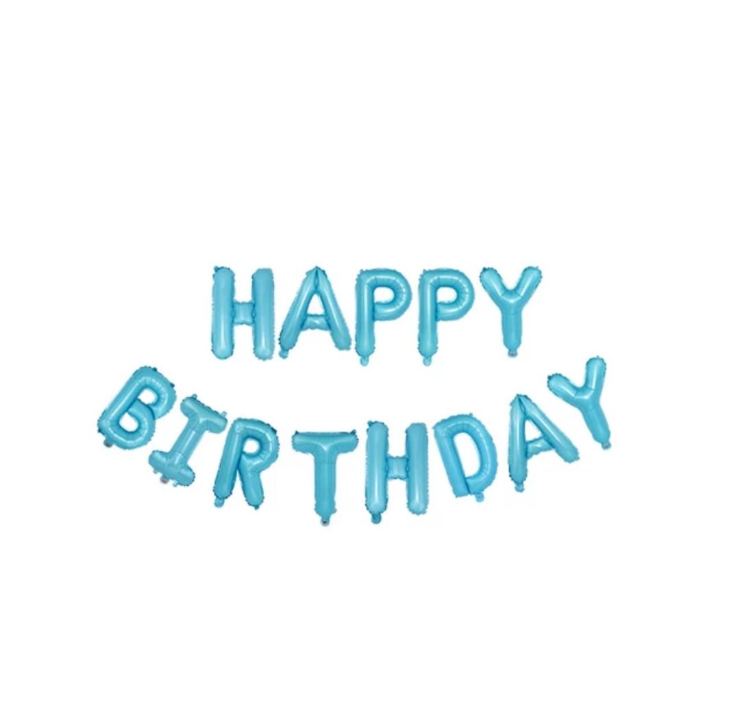 Фольговані букви з днем народження дитячий голубой13 букв.