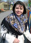 Ностальгия 573-14, павлопосадский платок шерстяной с шерстяной бахромой, фото 3