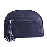 Женская кожаная сумка темно-синяя