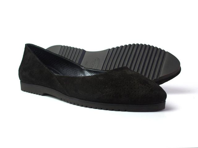 Балетки черные замшевые женская обувь Scara V Black Perf Vel by Rosso Avangard летние с перфорацией