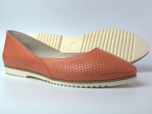 """Летние балетки кожаные женская обувь Gracia Peach V Perf by Rosso Avangard цвет персиковый """"Пич"""""""