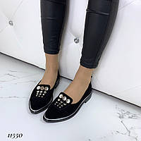 Туфли женские замшевые черные на низком ходу, фото 1