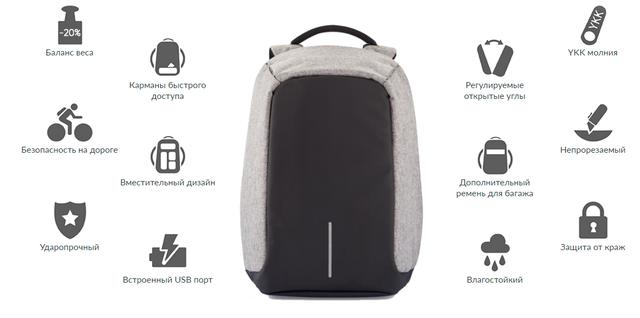 62742e4c7e9f Рюкзак-антивор с USB Портом Bobby Backpack — в Категории