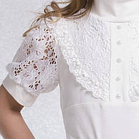 Белая школьная блуза с коротким рукавом
