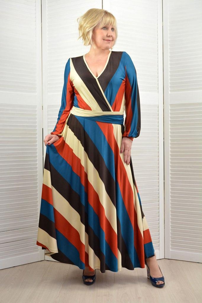 Платье в полоску макси - Модель 1757
