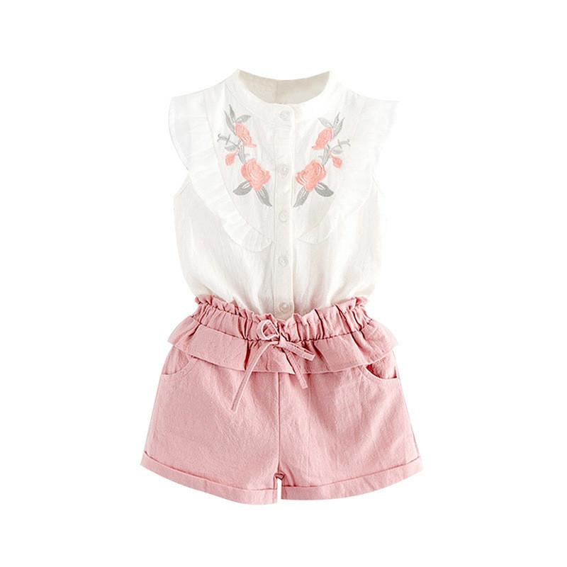 Костюм блузка и шорты June Kids Розы рост 116 см белый+розовый  06042