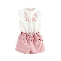 Костюм блузка и шорты June Kids Розы рост 116 см белый+розовый  06042, фото 1