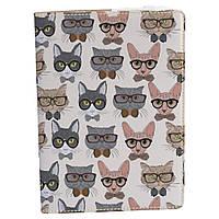 Блокнот  Rainbow A5 193 Коты в очках фон (эко-кожа)