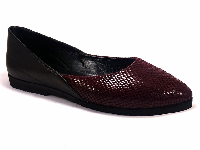 Бордовые балетки кожаные женская обувь Scara U Ript Burgundy Leather by Rosso Avangard рептилия