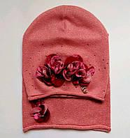 Весенний комплект для девочки шапка и снуд темно-розовый, Nikola