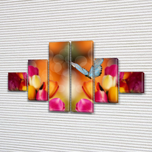 Тюльпаны и бабочки, модульная картина (Цветы) на ПВХ ткани, 75x130 см, (20x20-2/45х20-2/75x20-2)