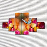 Тюльпаны и бабочки, модульная картина (Цветы) на ПВХ ткани, 75x130 см, (20x20-2/45х20-2/75x20-2), фото 1