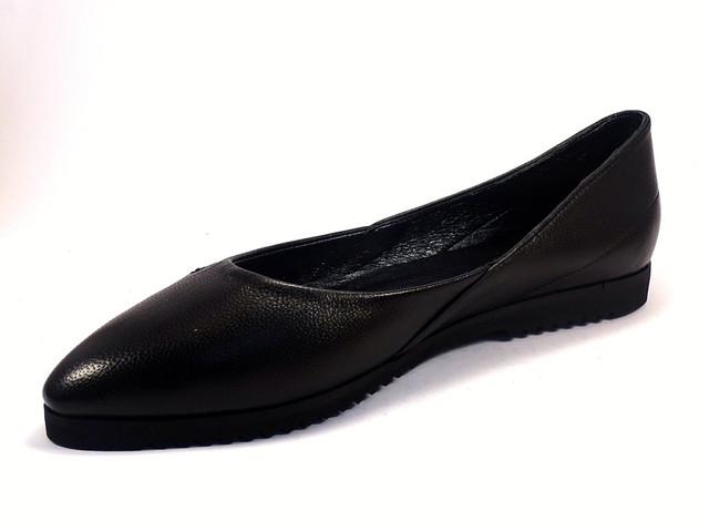 Балетки кожаные черные женская обувь Scara U Black Leather by Rosso Avangard