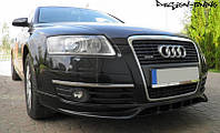 Накладка на передний бампер Audi A6 C6 S-Line, Юбка Ауди А6 Ц6